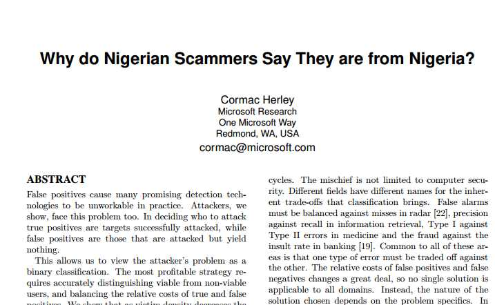 """Why do Nigerian Scammers Say They are from Nigeria?"" Microsoft paper"