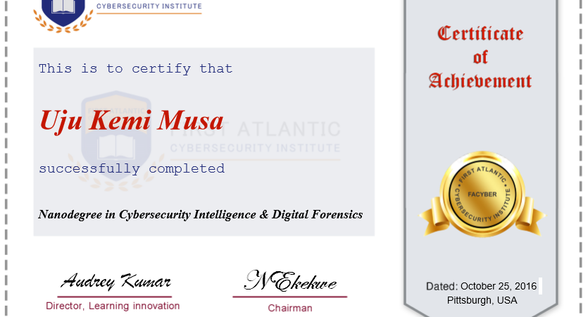 First Atlantic Cybersecurity Institute unveils design sample of its Award Certificates