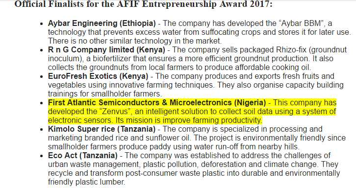 Nigeria's FASMICRO Makes the final of Africa Finance & Investment Forum (AFIF) Entrepreneurship Award 2017