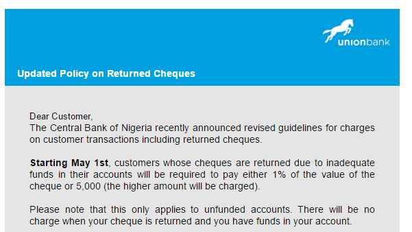 Banks To Charge 1% Value Or N5,000 Penalty For Unfunded Returned Cheques In Nigeria