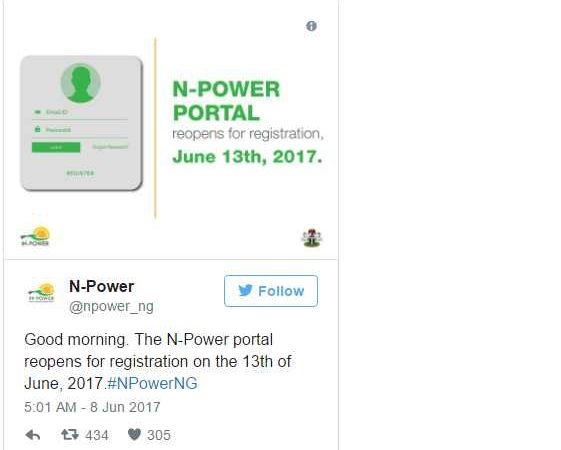 Buhari Government Announces June 13th For Reopening Of N-Power Portal
