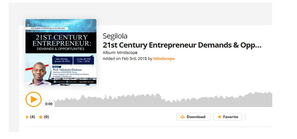 Audio of my Eko89.7fm Radio Interview – 21st Century Entrepreneur