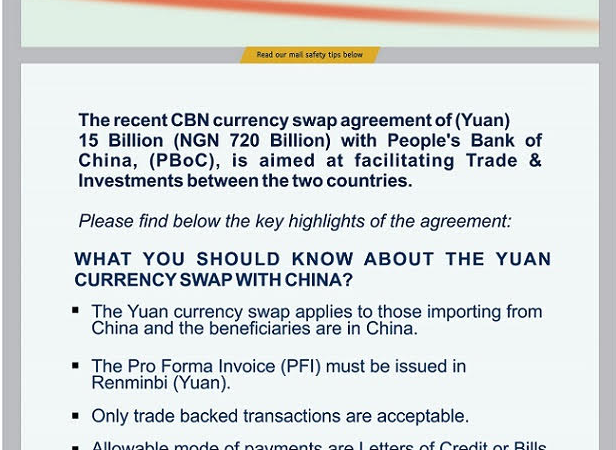 Central Bank of Nigeria (CBN) Guideline on Chinese Yuan-Naira Currency Swap – First Bank