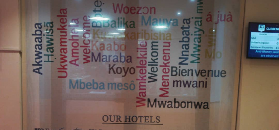 "The Translation of ""Welcome"" into Nigerian Languages in Eko Hotels"