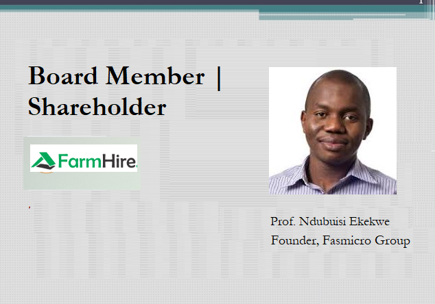 Ndubuisi Ekekwe Becomes FarmHire Shareholder, Joins Board