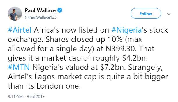Nigerian Investors Send Better Gifts than Londoners to Airtel Africa