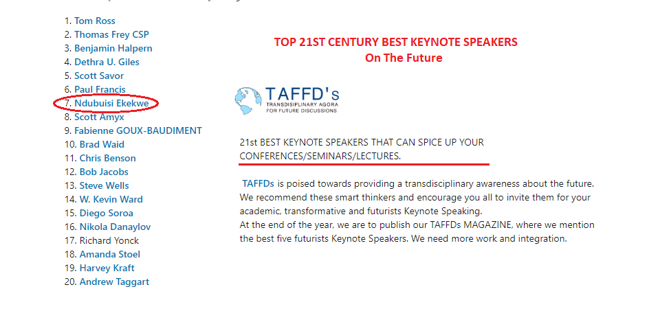 """Ndubuisi Ekekwe Makes TAFFDs' Top 20 Keynote Speakers on """"transdisciplinary awareness about the future"""""""