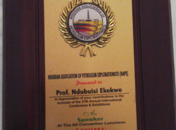Thank You NAPE, Nigeria's Upstream Oil Explorationists, for the Recognition