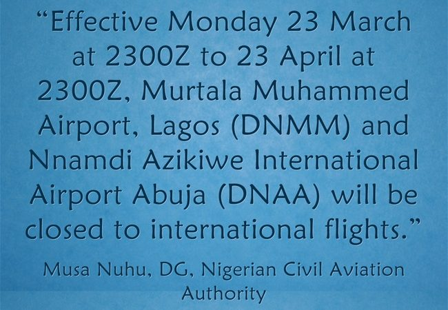Covid-19 PAUSES Nigeria – All International Airports Closed!