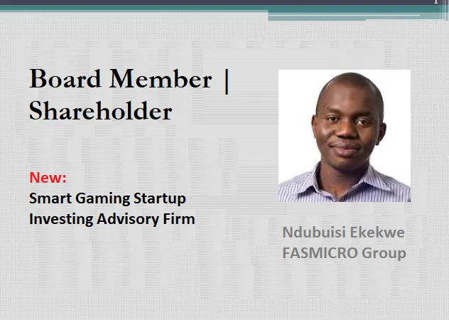 Our Portfolio Expands With Investment Entity and Smart Gaming Startup (Lagos, and Florida)