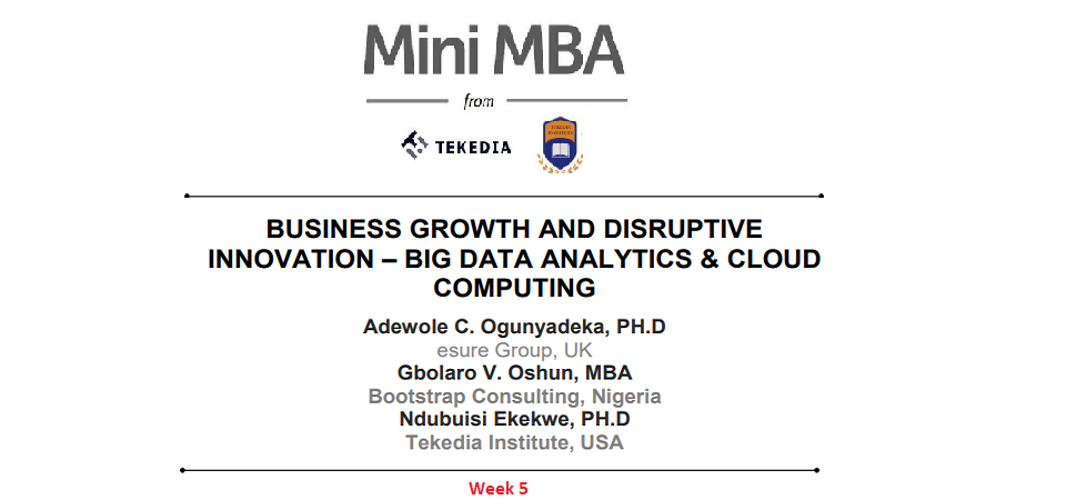 Tekedia Mini-MBA: Week 5 Contents Are Live