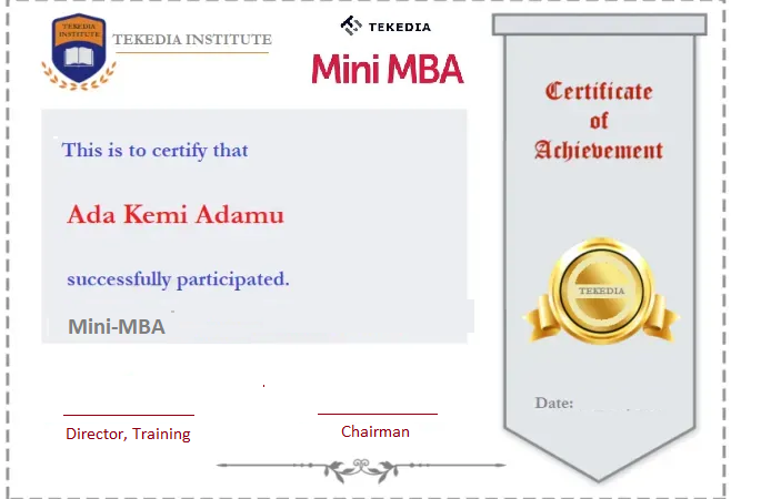 Production of Certificates Begins for Tekedia Mini-MBA Participants