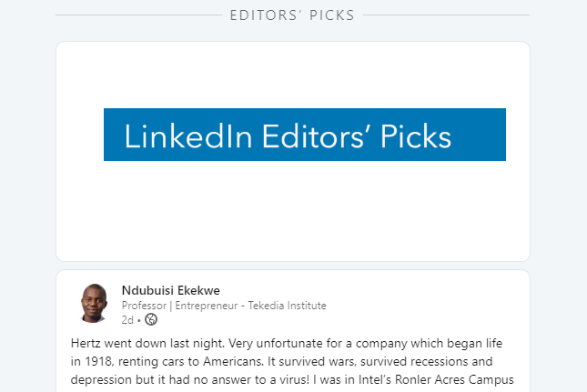 Our Article Makes LinkedIn Editors' Pick
