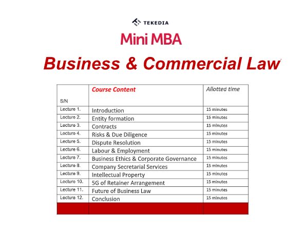 Tekedia Mini-MBA Business & Commerce Law Session