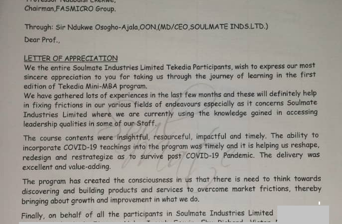 Soulmate Industries Writes Appreciation Letter to Tekedia Mini-MBA