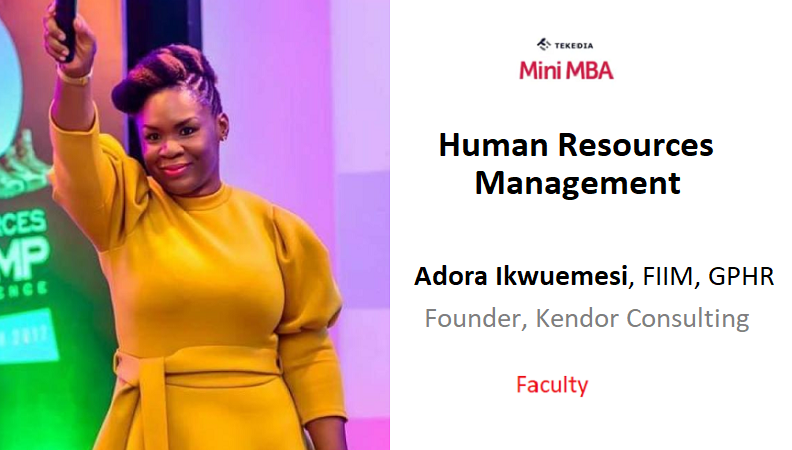 A HR Leader to Lead Human Resources Management Session In Tekedia Mini-MBA