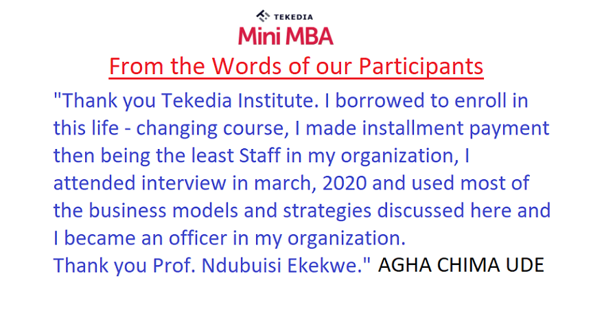 Some Testimonials from Tekedia Mini-MBA 1st Edition