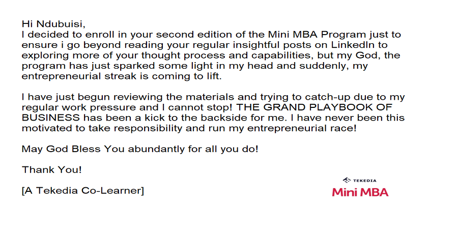 A Testimonial On Tekedia Mini-MBA: Impact of the THE GRAND PLAYBOOK OF BUSINESS