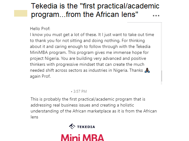 "Tekedia Mini-MBA – ""first practical/academic program…from the African lens"""