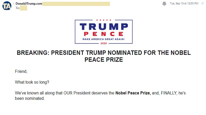 The President's Nobel Peace Prize Nomination