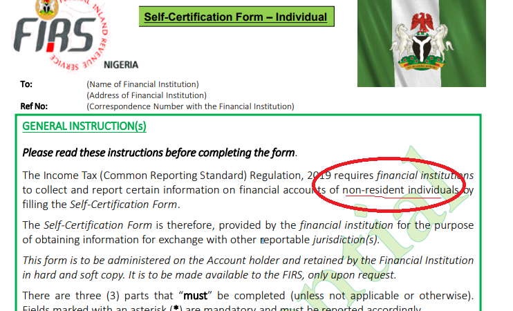 A Copy of the Nigeria's Self-Certification Form – Individual