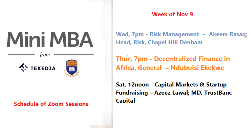 This Week Schedule for Tekedia Live – Risk Management, DeFi, Fundraising