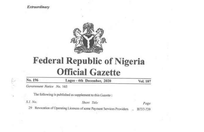 Central Bank of Nigeria Revokes Licenses of 7 PSPS and 1 SSP
