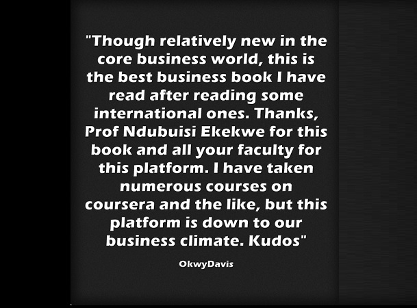 """""""…this is the best business book I have read"""" – a Testimonial on The Dangote System book"""
