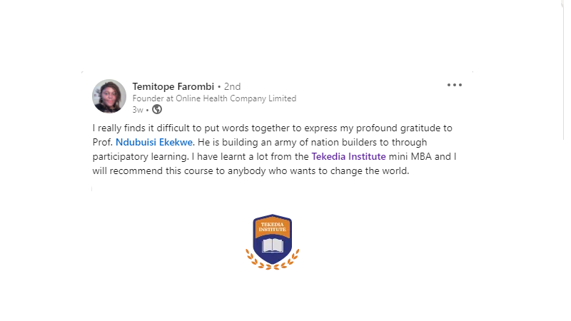 """""""I will recommend [Tekedia Mini-MBA] to anybody who wants to change the world"""" – Temitope Farombi"""