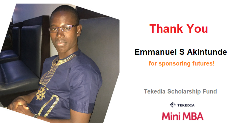 Thank You Emmanuel S Akintunde for Donating to Tekedia Scholarship Fund