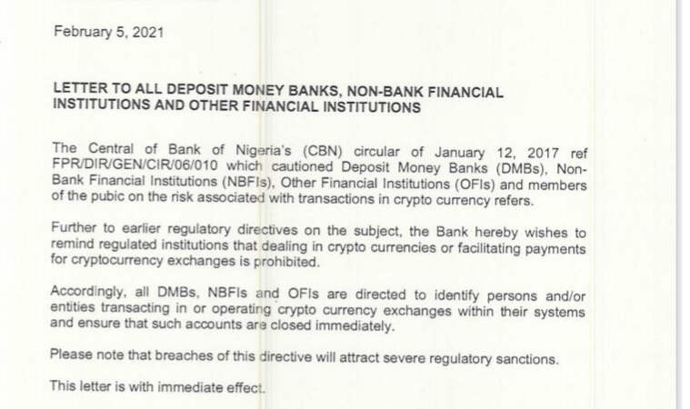 The Central Bank of Nigeria ATTACKS Cryptocurrency in Nigeria With This Notice