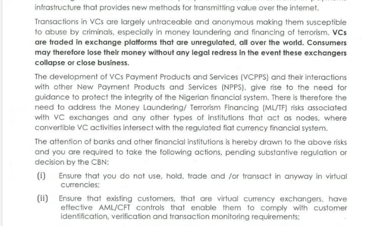 This CBN Circular On Cryptocurrency in 2017 Was Nuanced and Reasonable