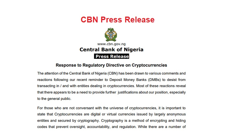 Nigeria's Central Bank Gives Reasons Why It Banned Bitcoin and Cryptos