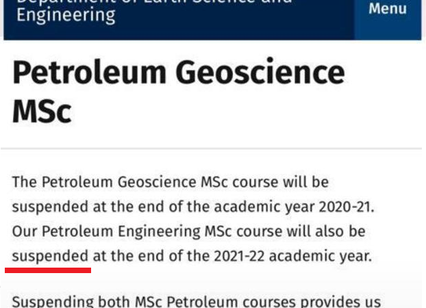 The Fast Changing Future As Imperial College Suspends Petroleum Geoscience