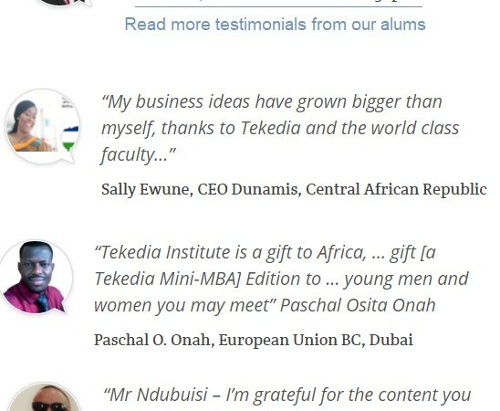 Tekedia Mini-MBA Testimonials – Join The Best School