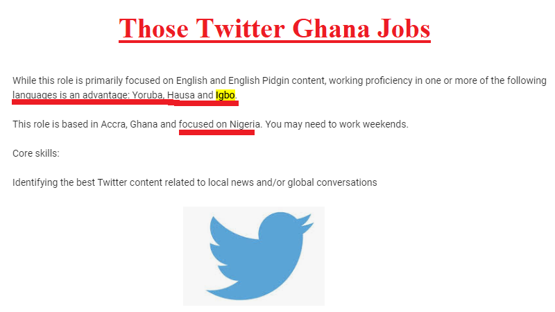 Those Twitter Ghana Jobs With Special Language Requirements – Igbo, Hausa, Yoruba