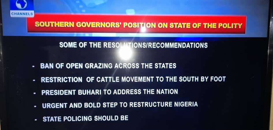 Communique Issued By Southern Nigeria Governors (full text)