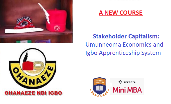 A New Course: Stakeholder Capitalism: Umunneoma Economics & Igbo Apprenticeship System