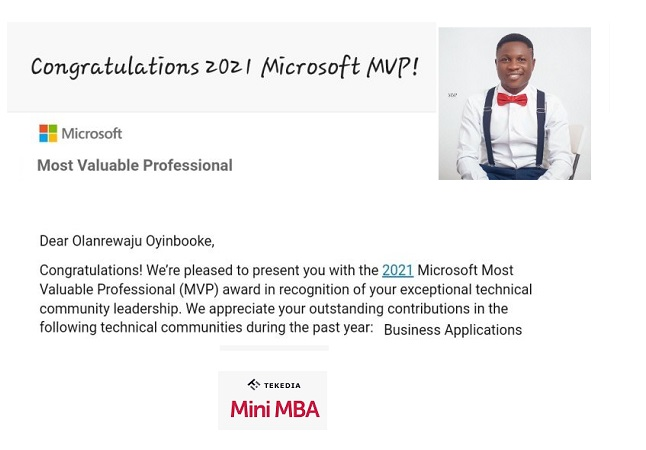 Tekedia Congratulates Our Faculty For Winning Microsoft MVP – Business Applications