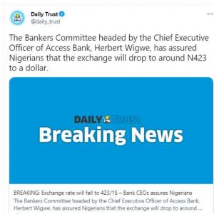 The N423/$ Message from Nigeria's Bankers Committee